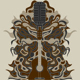 Zentangle della chitarra Illustrazione di vettore Fotografie Stock