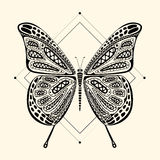 zentangle della farfalla Fotografie Stock Libere da Diritti