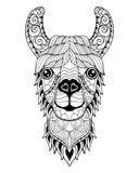 Zentangle della mandala dell'alpaga del lama stilizzato Illustr a mano libera di vettore immagine stock libera da diritti