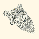 Zentangle della tigre del gatto Immagine Stock