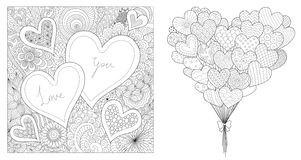 Zentangle design of hearted shapes set, for printing on cards and coloring for adult. Vector illustration stock illustration