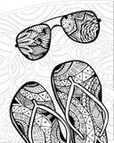 Zentangle disegnato a mano dei Flip-flop per il libro da colorare Immagine Stock Libera da Diritti