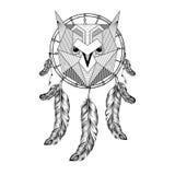 Zentangle disegnato a mano Owl Bird sul collettore di sogno con le piume per Fotografia Stock