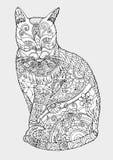 Zentangle do gato que tira à mão Imagens de Stock