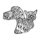 Zentangle Dog And Cat Royalty Free Stock Photo