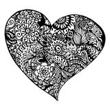 Zentangle doodle black heart ink hand drawn   Royalty Free Stock Image