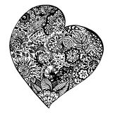 Zentangle doodle black heart ink hand drawn   Stock Photography