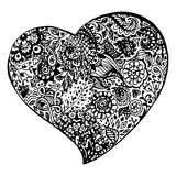 Zentangle doodle black heart ink hand drawn   Royalty Free Stock Photos