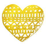 Zentangle doodle gold golden heart ink hand drawn  Royalty Free Stock Photos