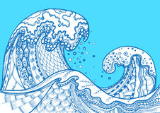 Zentangle doodle hand drawn vector sea waves Royalty Free Stock Image