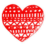 Zentangle doodle red heart ink hand drawn   Royalty Free Stock Photos
