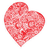 Zentangle doodle red heart ink hand drawn   Royalty Free Stock Image