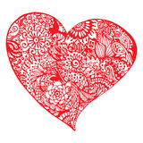 Zentangle doodle red heart ink hand drawn  isolated Royalty Free Stock Photos