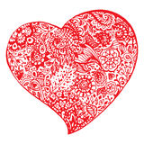 Zentangle doodle red heart ink hand drawn vector isolated Stock Images