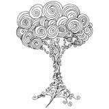 Zentangle Drzewny kontur ilustracji