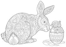 Zentangle Easter bunny and chick. Easter Bunny and newborn Baby Chicken in Easter egg. Coloring Page for adult colouring book. Antistress freehand sketch drawing royalty free illustration