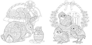 Zentangle Easter collection Royalty Free Stock Photography