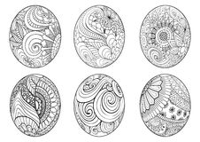 Zentangle easter eggs for coloring book for adult Royalty Free Stock Photo