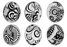Zentangle easter eggs for coloring book for adult vector illustration