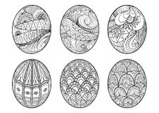Zentangle easter eggs for coloring book for adult Royalty Free Stock Photos