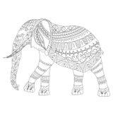 Zentangle elefantklotter på vit bakgrund Arkivbild