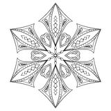 Zentangle elegant snow flake for adult coloring pages. Vector or Royalty Free Stock Image