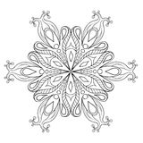 Zentangle elegant snow flake. Vector ornamental winter illustration for decoration, Christmas greeting cards, invitation template. Adult coloring pages royalty free illustration