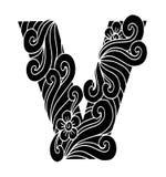 Zentangle estilizó alfabeto Letra V en estilo del garabato Fuente drenada mano del bosquejo Imagenes de archivo