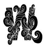 Zentangle estilizó alfabeto Letra W en estilo del garabato Fuente drenada mano del bosquejo Imagenes de archivo