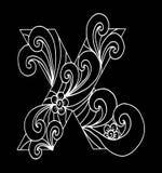 Zentangle estilizó alfabeto Letra X en estilo del garabato Fuente drenada mano del bosquejo Imagen de archivo libre de regalías