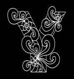 Zentangle estilizó alfabeto Letra Y en estilo del garabato Fuente drenada mano del bosquejo Imágenes de archivo libres de regalías