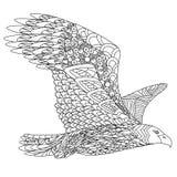 Zentangle estilizó el águila del vuelo Doodle dibujado mano Fotografía de archivo