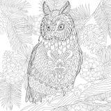 Zentangle estilizó el búho de águila Fotos de archivo libres de regalías
