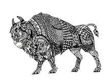Zentangle estilizó el bisonte negro Imagen de archivo libre de regalías