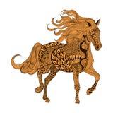 Zentangle estilizó el caballo de Brown Illustr dibujado mano del vector del garabato Imagenes de archivo