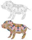 Zentangle estilizó el cerdo Ejemplo decorativo dibujado mano del vector stock de ilustración