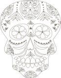 Zentangle estilizó el cráneo blanco y negro del azúcar, mano dibujada, vector Fotografía de archivo libre de regalías