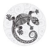 Zentangle estilizó el dibujo de un lagarto Foto de archivo libre de regalías
