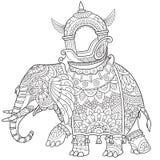 Zentangle estilizó el elefante Fotografía de archivo libre de regalías