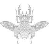Zentangle estilizó el macho-escarabajo (el cervus de Lucanus) stock de ilustración