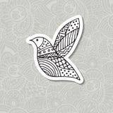 Zentangle estilizó el pájaro Ilustración drenada mano del vector Imágenes de archivo libres de regalías