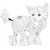 Zentangle estilizó el perro Ejemplo dibujado mano del vector del cordón Imágenes de archivo libres de regalías