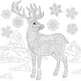Zentangle estilizó el reno y la nieve stock de ilustración