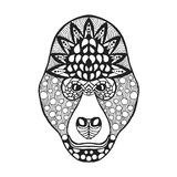 Zentangle estilizó la cabeza del gorila Bosquejo para el tatuaje o la camiseta libre illustration