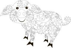 Zentangle estilizó la mano blanco y negro del cerdo dibujada libre illustration