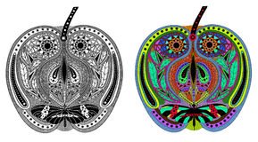 Zentangle estilizó la manzana del color y del negro Foto de archivo