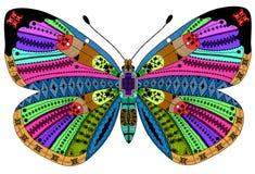Zentangle estilizó la mariposa del color Imágenes de archivo libres de regalías