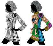 Zentangle estilizó a la muchacha del color y del negro Fotos de archivo libres de regalías
