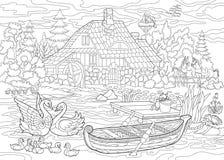 Zentangle estilizó paisaje rural stock de ilustración