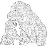 Zentangle estilizó el gato y el perro Imágenes de archivo libres de regalías